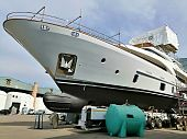 Workers Sandblast, Sand An Expensive Luxury Yacht For Painting And Preparing It For Launch, Maintena poster