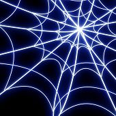 image of spider web  - Glowing spider web on a dark background - JPG