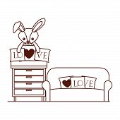 Cute Rabbit Of Stuffed With Heart Love Pillows In Livingroom Vector Illustration Design poster