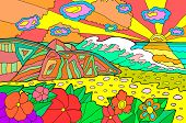 Psychedelic Illustration With Seaside Landscape. Ocean Sunset. Colorful Catoon Retro Art. Hippie 60s poster