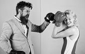 Female And Male Boxers Fighting In Gloves. Domination Concept. Gender Battle. Gender Equal Rights. G poster
