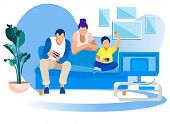 Game Party At Home, Family Fun. Father, Mother, Little Son Sitting On Couch Playing Video Games Comp poster