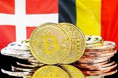 Concept For Investors In Cryptocurrency And Blockchain Technology In The Belgium And Denmark. Bitcoi poster
