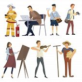 Set Of Professions. Collection Of People Of Different Professions. Illustration Of Men And Women At  poster