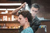 Professional Hairdresser Using Hair Spray On Client Hair At Barber Shop, Cool Barber Splashes From T poster