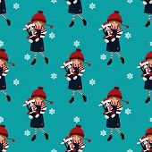 Christmas Holiday Season Seamless Pattern With Cute Girl In Winter Custom Holding Cute Cat Doll. Cut poster