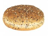 picture of bap  - sofr round brown bread bap roll seeded isolated white background
