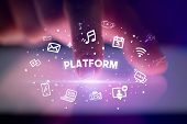 Finger touching tablet with drawn social media icons and PLATFORM inscription, social networking con poster