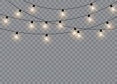 Christmas Lights Isolated Realistic Design Elements. Glowing Lights For Xmas Holiday Cards, Banners, poster