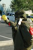 foto of decontamination  - Hazardous materials drill at a hospital with A level chemical protective suits - JPG