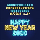 Happy New Year 2020 Neon Tube Alphabet Font. Color Type Letters And Numbers. Vector Typography For H poster