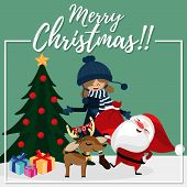 Christmas Cartoon Of Santa Claus, Cute Girl, Reindeer, Gift Box With Christmas Tree And Merry Christ poster
