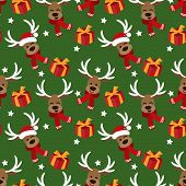 Cute Reindeer In Red Scarf, Star And Gift Box Seamless Pattern. Cute Christmas Holidays Cartoon Char poster
