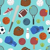 Sport. Seamless Background. Set Of Sports Balls And Game Items For Sports. Healthy Lifestyle. Vector poster