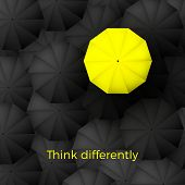Think Different Business Concept. One Yellow Unique Parasol Excel Black Umbrellas On Background. Vec poster