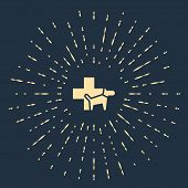 Beige Veterinary Clinic Symbol Icon Isolated On Dark Blue Background. Cross With Dog Veterinary Care poster