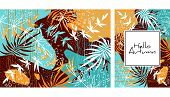 Tropical Jungle Leaves Pattern. Colorful Hand Drawn Tropical Poster Design. Exotic Leaves Art Print. poster