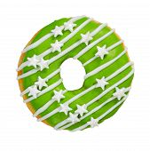 Donut With Green Icing And Sprinkles Isolated On White Background. poster