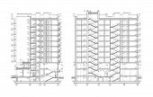 Multistory Building Facade, Detailed Architectural Technical Drawing, Vector Blueprint poster