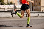 Man Runner In Bright Green Compression Socks Running Marathon poster