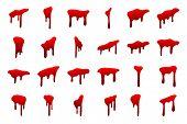 Blood Drip Set. Drop Blood Isloated White Background. Happy Halloween Decoration Design. Red Splatte poster