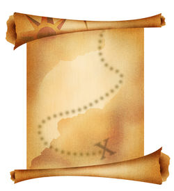 picture of treasure map  - Old treasure map with some spots on it - JPG