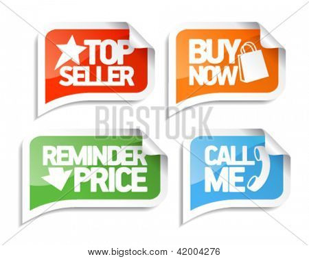 Seller speech bubbles set for online markets.
