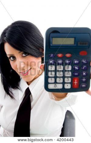 Woman Showing Calculator