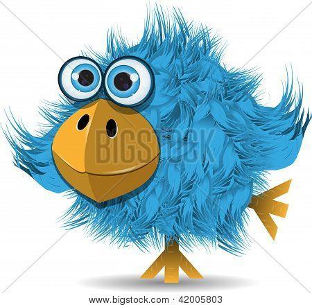 Muy divertido pájaro azul
