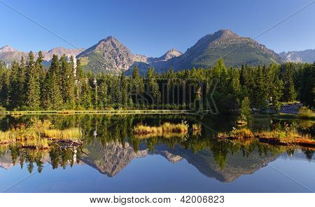 Spring Natural Lake In Slovakia Tatra Mountain - Strbske Pleso
