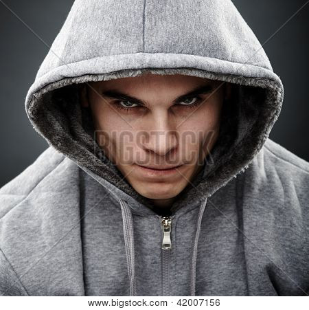 Close-up Portrait Of Threatening Thug