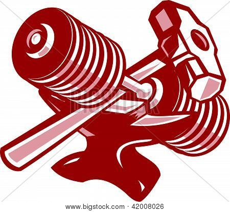 Dumbbell Anvil And Sledgehammer Retro