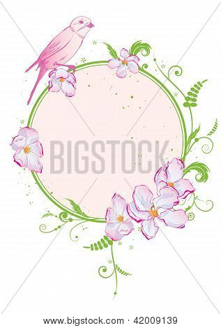 Floral Frame With Bird