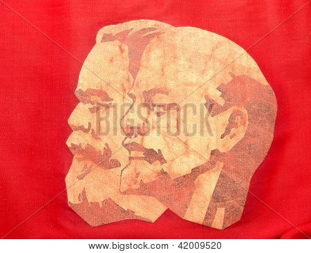 Marx And Lenin On Red Banner