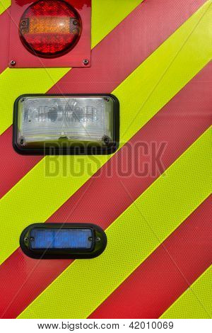 Back lights of fire engine