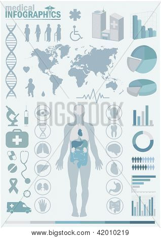 Medical infographics. Presentation set. Human body with internal organs plus buttons. Diagram (graph), cardio gram.