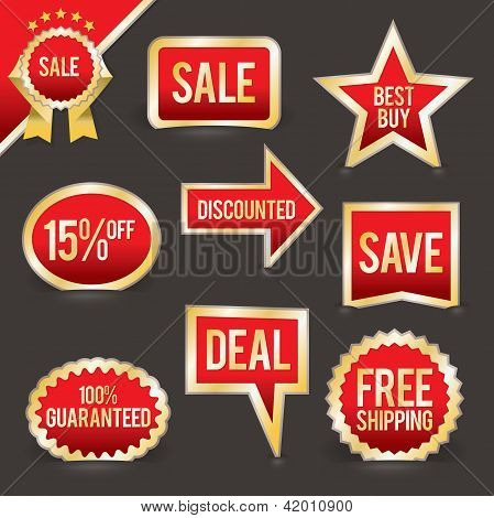 Vector Set Of Foiled Sale Badges