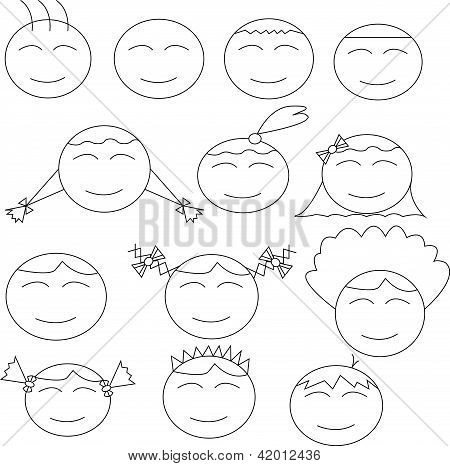 Thirteen Human (boy And Girl) Comical Faces