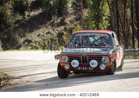 Leiria, Portugal - February 2: Paulo Marques Drives A Bmw 1600 During 2013 Amateur Winter Rally, In