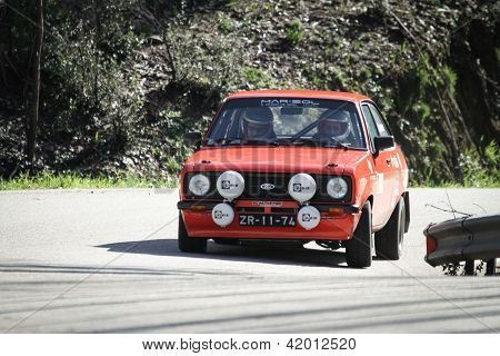 Leiria, Portugal - February 2: Goncalo Figueiroa Drives A Ford Escort 1600 During 2013 Amateur Winte