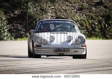 Leiria, Portugal - February 2: Jose Esteves Drives A Porsche 911 During 2013 Amateur Winter Rally, I