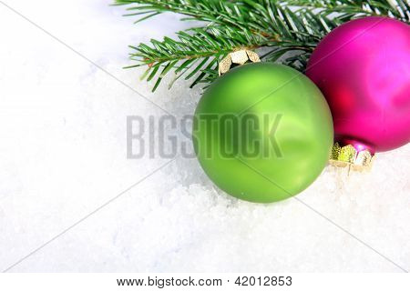 Two Colorful Christmas Baubles
