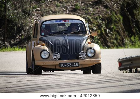 Leiria, Portugal - February 2: Fernando Nini Drives A Vw 1300 Sedan During 2013 Amateur Winter Rally