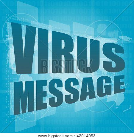 Internet Concept: Words Virus Message On Digital Screen