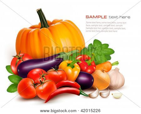 Fresh vegetables. Healthy Food. Vector illustration