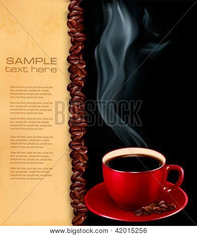 Background with cup of coffee and old paper. Raster version of vector.