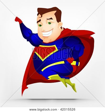 Cartoon Character Cheerful Chubby Men. Super hero. Vector Illustration. EPS 10.