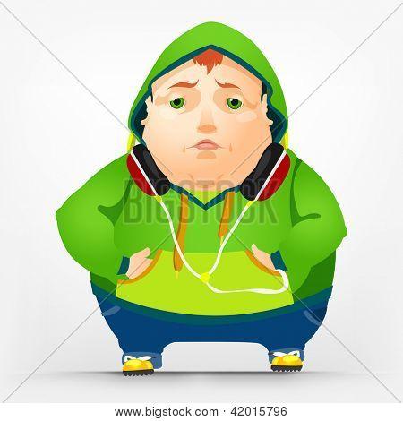 Cartoon Character Cheerful Chubby Men. Sad. Vector Illustration. EPS 10.