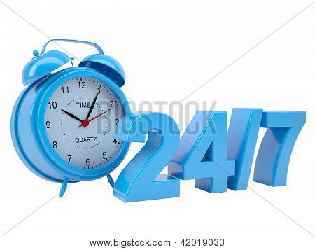 Clock with the inscription 24/7