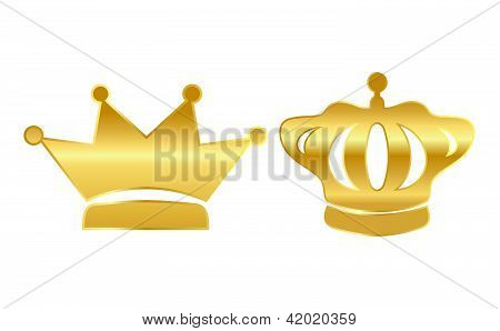 Vector gold crowns illustration